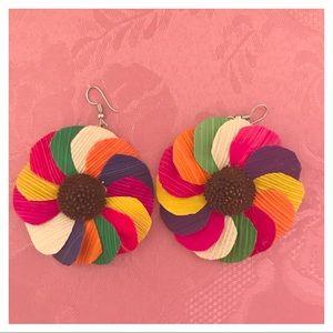 Rainbow Pinwheel Earrings